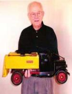 Original Buddy L Truck owner holding his childhood Buddy L Ice Truck. Buddy L Museum buying vintage antique toys highest prices paid