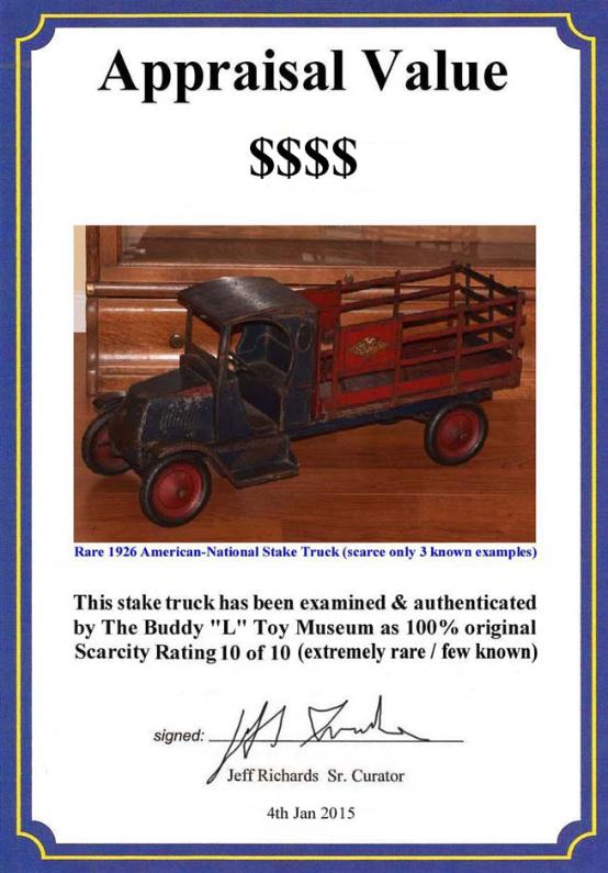 www.buddylmuseum.com, contact us witth your American National toy trucks for sale, American antique toys for sale,  richfield oil truck, richfield,  stake truck history and appraisals, american national toy trucks,american national coal truck,american national stake truck,american national circus truck,american national packard automobile,american national tank truck,american national dump truck, american national stake truck appraisals, circus truck, oil, dump, coal, american national moving van,buddy l toys