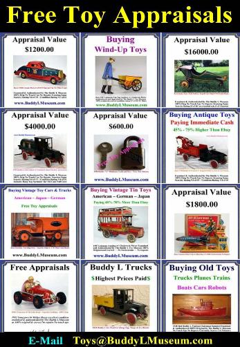 antique toy prices, antique toy identification, buddy l toy prices, buddy l trucks for sale, toy appraisers, toy appraisal Buying toy collections, www.buddylmuseum.com