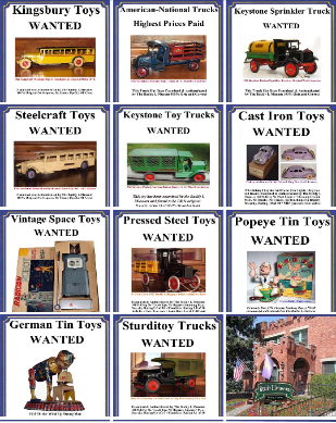 buying toy antique toy collections paying immediate cash, Buying old toys, 1920's toys, 1930's toys, kingsbury toy cars, buddy l flivver, buddy l oil truck free toy appraisal