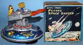 vintage japanese flying saucer japan tin robots, gang of give radicon robot, wind up linemar robot, 1950's space toys for sale, 1950's vintage tin toys for sale,  yonezawa space toys for sale,   tin radicon japan robot, space toy museum appraisals, rare vintage space toys for sale, japan space ships value guide, japan flying saucer photo gallery, japan tin toys wanted all conditions,  vintage space toys, toy appraisals antique buddy l cars trucks japan robots appraisal with current tin space toys updates, tin toys ebay